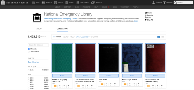 Ebook loans without a wait list are available during the pandemic at the National Emergency Library.